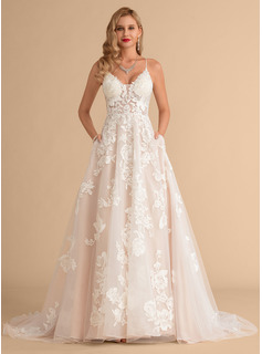 Ball-Gown/Princess V-neck Court Train Tulle Lace Wedding Dress With Beading Pockets