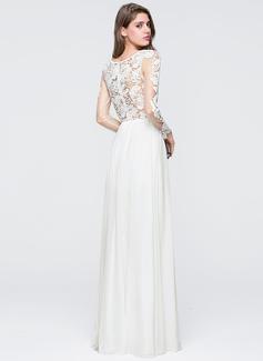 A-Line Sweetheart Floor-Length Chiffon Wedding Dress With Split Front