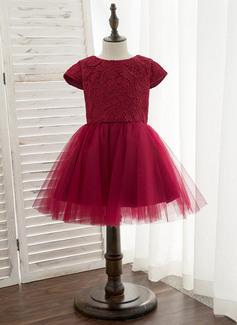 Linia A Do Kolan Sukienka dla Dziewczynki Sypiącej Kwiaty - Satyna/Tiul/Koronka Krótkie Rękawy Okrągły/ głęboko wycięty Z Pałąka (e)