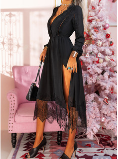 Lace Solid A-line Long Sleeves Midi Little Black Casual Skater Dresses
