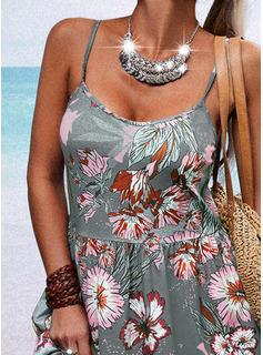 Floral Impresión Vestido línea A Sin mangas Midi Casual Patinador Tipo Vestidos de moda