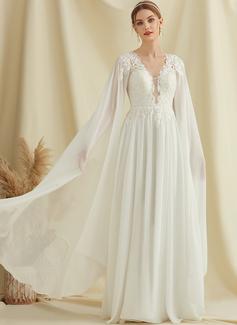 A-Linje V-ringning Golvlång Chiffong Spets Bröllopsklänning med Paljetter