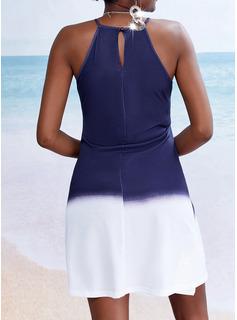 Degradada Vestido línea A Sin mangas Mini Casual Vacaciones Patinador Vestidos de moda