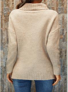 タートルネック カジュアル 固体 セーター