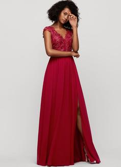 A-Line V-neck Floor-Length Chiffon Evening Dress With Sequins Split Front