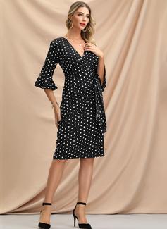 水玉模様 ボディコンドレス 1/2袖 フレアスリーブ ミディ パーティー エレガント ペンシル ラップ ファッションドレス