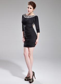 Sheath/Column Scoop Neck Short/Mini Chiffon Cocktail Dress With Beading