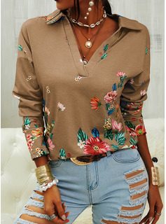Floral Print Lapel Long Sleeves Casual Blouses