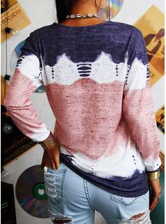 Tie Dye Animale Stampa Girocollo Maniche lunghe Casuale Reggiseno Tshirt