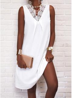 Encaje Sólido Vestidos sueltos Sin mangas Midi Casual Vestidos de moda
