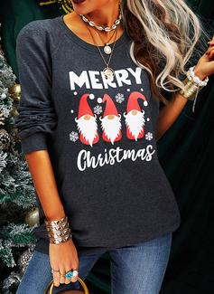 印刷 図 ラウンドネック 長袖 クリスマス・スウェットシャツ