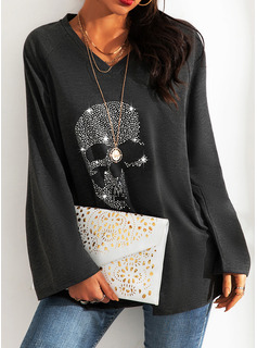 Sequins V-Neck Long Sleeves Casual T-shirt