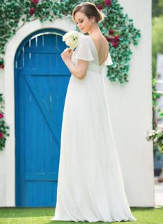Empire-Linie V-Ausschnitt Bodenlang Chiffon Brautkleid mit Perlstickerei Gefaltet