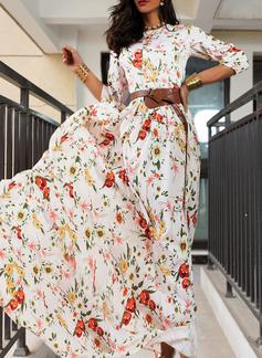 Floral Print A-line 3/4 Sleeves Maxi Elegant Skater Dresses