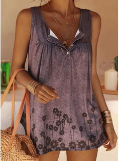 Print Round Neck Sleeveless Button Up Casual Tank Tops