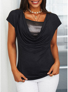 Sequins Solid Square Collar Short Sleeves Casual Blouses