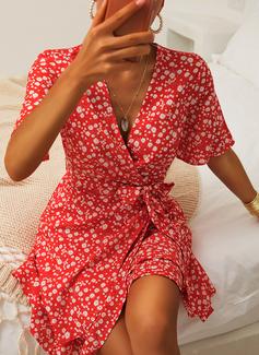 Blommig Print A-linjeklänning Korta ärmar Mini Fritids Elegant skater Bolerojackor Modeklänningar