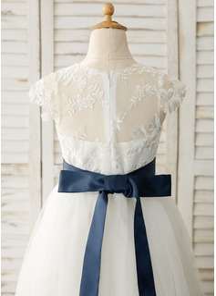 A-Line Floor-length Flower Girl Dress - Satin/Tulle/Lace Sleeveless Scoop Neck With Sash (Detachable sash)
