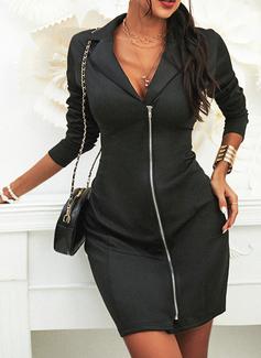 Solid Bodycon Lange ærmer Mini Den lille sorte Casual Elegant Mode kjoler