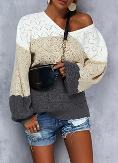 Cuello en V Casual Trozos de color Suéteres
