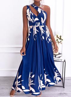Print A-line Sleeveless Maxi Party Elegant Skater Dresses