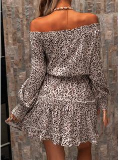 Leopard A-line Lantern Sleeve Long Sleeves Mini Casual Skater Dresses