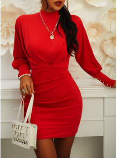 Solid Bodycon Lantern Sleeve Long Sleeves Mini Casual Elegant Dresses