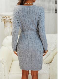 Sólido Punto De Cable Manga Larga Casual Largo Ajustado Vestido de Suéter Vestidos de moda