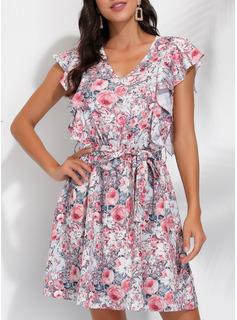 Blomster Print Kjole med A-linje Ærmeløs Mini Casual skater Mode kjoler
