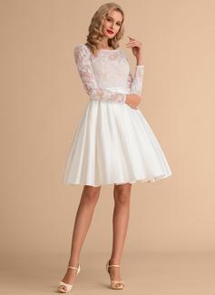 Ball-Gown/Princess Scoop Neck Knee-Length Satin Lace Wedding Dress