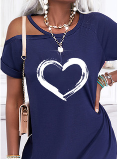 Impresión Corazón Vestidos sueltos Manga Corta Mini Casual Vestidos de moda