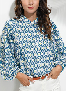 Stampa Scollatura a V 3/4 maniche Bottone Casuale Shirt and Blouses