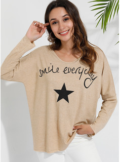 Print Long Sleeves Cotton Polyester V Neck T-shirt Blouses