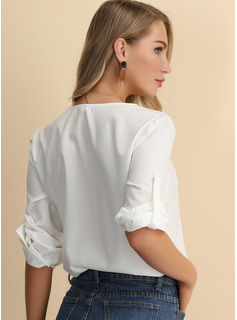 Solid V-Neck 1/2 Sleeves Casual