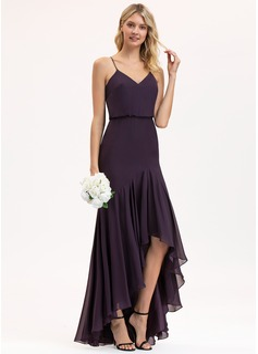 Trumpet/Mermaid V-neck Asymmetrical Chiffon Bridesmaid Dress With Cascading Ruffles