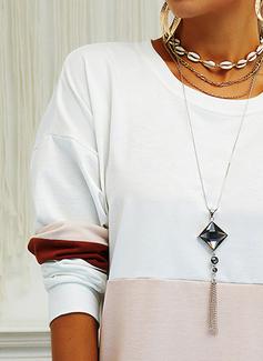 Trozos de color Vestidos sueltos Manga Larga Mini Casual Sudadera Vestidos de moda