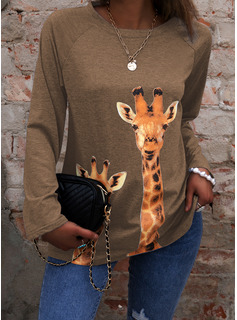 Animalske Udskriv Rund hals Lange ærmer Casual T-shirt
