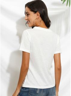 Print 1/2 Ærmer Polyester V-hals T-shirt Bluser