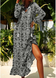 Print Shift 1/2 Sleeves Maxi Casual Dresses