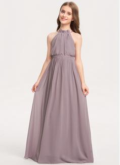 A-linjainen korkea Neck Lattiaa hipova pituus Sifonki Nuorten morsiusneito mekko jossa Rusetti Laskeutuva röyhelö
