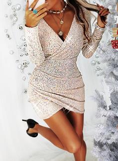 pailletter Bodycon Lange ærmer Mini Den lille sorte Party Mode kjoler
