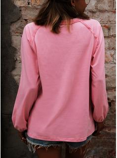 Trykk V-hals Lange ermer Avslappet T skjorte