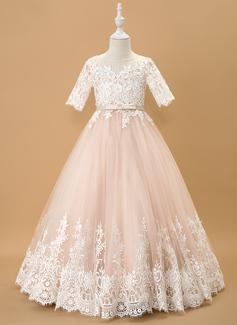 Robe Marquise/Princesse Longueur ras du sol Robes à Fleurs pour Filles - Tulle/Dentelle 1/2 manches Col rond avec À ruban(s)