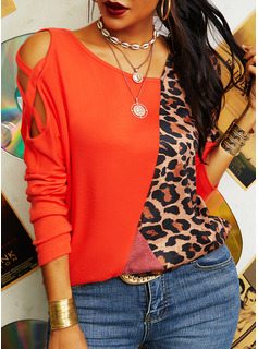 Leopard Color Block Cold Shoulder Long Sleeves Casual Blouses