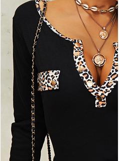 Leopardo Cuello en V Manga Larga Con Botones Casual Blusas