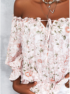 Blumen Druck Off-Schulter Lange Ärmel Lässige Kleidung