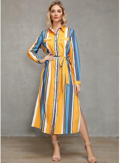 カラーブロック 縞模様の Aラインワンピース 長袖 ミディ カジュアル 休暇 シャツワンピース ファッションドレス