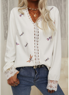 Perlebrodering Animalske Udskriv Blonder V-hals Lange ærmer Elegant Skjorter