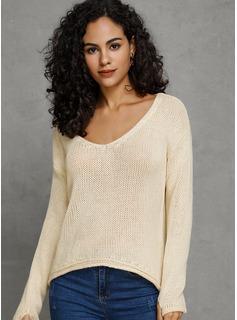Sólido Algodón Cuello en V Suéter Suéteres