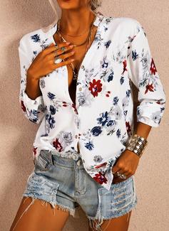 Blomster Print V-hals 3/4 ærmer Button-up Casual Skjorter